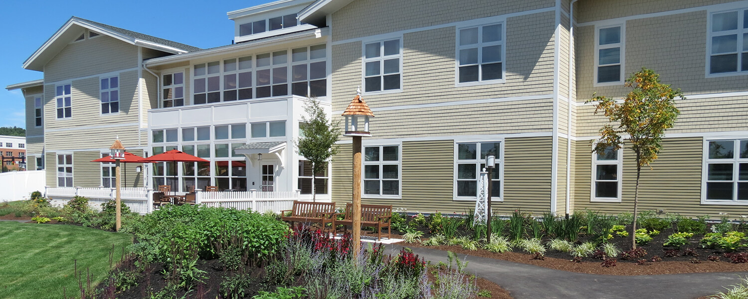 Enclosed outdoor courtyard provides safety, security and the beauty of nature for memory care residents.